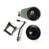 SBC Chevy SB Chrome Saginaw Power Steering Pump w/ Black Bracket & Pulley Kit