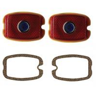 Chevy Incandescent Tail Light Lenses w/ Blue Dot & Gasket Kit, 37-40 Passenger W