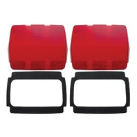 (2) Tail Light Lens w/ Black Foam Gaskets, Compatible with Ford Mustang 1964-66
