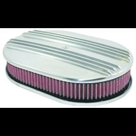 "12"" Classic Finned Polished Aluminum Oval Air Cleaner w/ Washable Filter Chevy F"