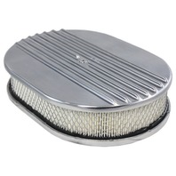 "12"" Half Finned Polished Aluminum Oval Air Cleaner w/ Filter Chevy Ford V8"