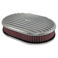 "12"" Full Finned Polished Aluminum Oval Air Cleaner w/ Washable Filter Chevy Ford"