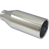 """Stainless Steel  Rolled Edge Exhaust Tip 2.25"""" Inlet - 4"""" Outlet - 9.5"""" Long"""