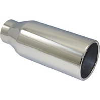 """Stainless Steel  Rolled Edge Exhaust Tip 2.5"""" Inlet - 4"""" Outlet - 10"""" Long"""