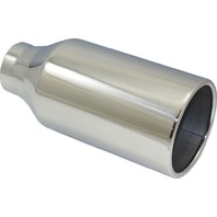 """Stainless Steel  Rolled Edge Exhaust Tip 2.5"""" Inlet - 4.5"""" Outlet - 10"""" Long"""
