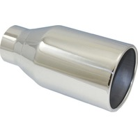 """Stainless Steel Rolled Edge Exhaust Tip 3"""" Inlet - 5"""" Outlet - 10"""" Length - Weld"""