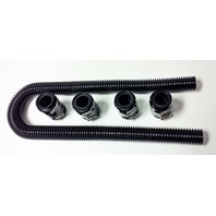 "48"" Black Stainless Flexible Radiator Hose Kit w/ Black End Caps"