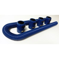 "48"" Blue Stainless Flexible Radiator Hose Kit w/ Blue End Caps"