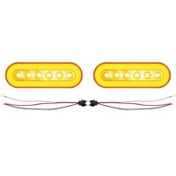 "(2) 22 Amber Led 6"" Oval P/T/C ""Glo"" Light - Amber Lens - Universal Trailer Truc"