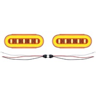 "(2) 22 Led 6"" Oval ""Glo"" Light - Amer Led/Amber Lens/Clear Center - Universal"