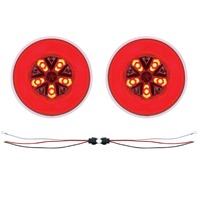 "(2) 18 Led 4"" Round ""Glo"" Light - Red Led / Red Lens - Universal Trailer Truck R"