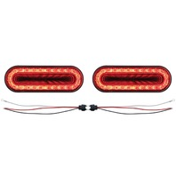 "(2) 24 Led 6"" Oval S/T/T & P/T/C ""Mirage"" Light - Red Led/Red Lens - Universal"