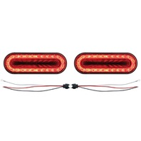 "(2) 24 Led 6"" Oval S/T/T & P/T/C ""Mirage"" Light - Red Led/Clear Lens - Universal"