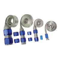 Stainless Braided Engine/Vacuum/Fuel/Heater/Oil Line Hose Sleeve Dress Up Blue K
