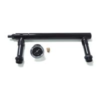 Black Aluminum Holley 4150 Double Pumper Fuel Line Log Anodized w/ Black Gauge