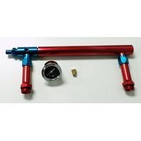 Aluminum Holley 4150 Double Pumper Fuel Line Log Red Blue Anodize w/ Black Gauge