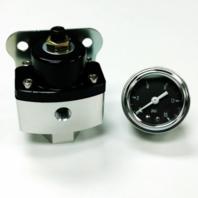 "5-12 PSI Aluminum Adjustable Fuel Regulator Black w/ Black Gauge 3/8"" NPT Ports"