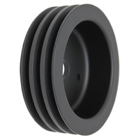 "SBC Chevy 283-350 Black Aluminum SWP Triple Groove Crankshaft Pulley - 6.6"" dia"