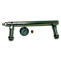Billet Aluminum Holley 4150 Double Pumper Fuel Line Log Anodized w/ White Gauge