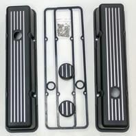 SBC Chevy Tall Black Ball Milled Aluminum Valve Cover Breather Kit Hot Rat Street Rod