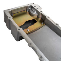 GM LS Retro-Fit Satin Aluminum Oil Pan, 5.5Q, Rear Sump, w/ Pick-Up, Sump Baffle, Gasket & Hardware