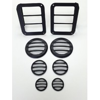 2007-15 Jeep Wrangler JK Black Powder Coated Billet 8 Piece Light Cover Kit