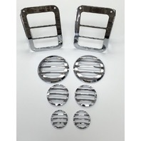 Chrome Billet 8pc Light Cover Kit, Compatible with Jeep Wrangler JK 2007-15
