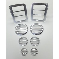 Silver Billet 8 Piece Light Cover Kit, Compatible with Jeep Wrangler JK 2007-15