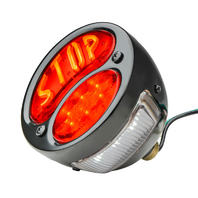 "LED ""STOP"" Script 1928-'31 Tail Light, Black Housing, Left Side w/ License Light"