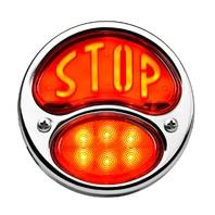 """LED """"STOP"""" Script 1928-'31 Tail Light, Stainless Housing, Left w/ License Light"""