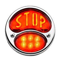 """LED """"STOP"""" Script 1928-'31 Tail Light, Stainless Housing, Right w/o License Lite"""