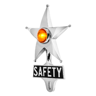 Hot Rod Amber Jewel Lighted Chrome Safety Star Vintage Style License Plate Topper