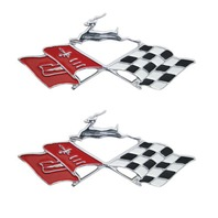 1961 Chevrolet Impala Chrome Die Cast Rear Side Quarter Trim Emblem Flags Pair