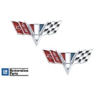 1964-67 Chevrolet Chrome Die Cast Front Fender Trim Emblem Chevy Flags Pair
