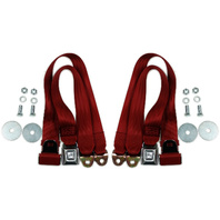 (2) VW Bug Ghia Type 3 Buggy 2-Point Lap Belts RED Seat Belts, PAIR  18-1021