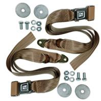 (2) VW Bug Ghia Type 3 Buggy 2-Point Lap Belt TAN Seat Belts, Pair EMPI  18-1022