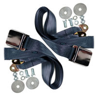 "(2) BLUE Universal 72"" Lap Seat Belts w/ Hardware, PAIR, Chrome Latch - Hot Rod"