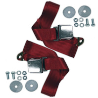 """(2) VW Bug Air Cooled, 2-Point Aviation Style Lap Seat Belts, RED,  72"""" Pair"""