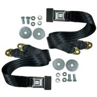 (2) EMPI VW Bug Ghia Type 3 Buggy 2-Point Lap Belt BLACK Seat Belts, Pair  3844