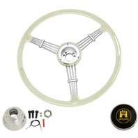 """Banjo"" Style, Silver/Grey Vintage Steering Wheel Kit w/ Boss 3-Bolt 24 Spline Mount Kit, Fits Type 1 & Ghia 49-59"