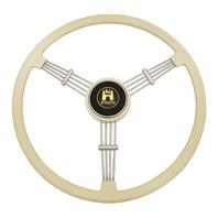 """""""Banjo"""" Style, Ivory Vintage Steering Wheel Kit w/ Boss 3-Bolt 24 Spline Mount Kit, Fits Type 1 & Ghia 49-59"""