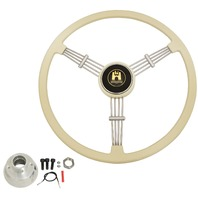 """Banjo"" Style, Ivory Vintage Steering Wheel Kit w/ Boss 3-Bolt 24 Spline Mount Kit, Fits Type 1 & Ghia 49-59"