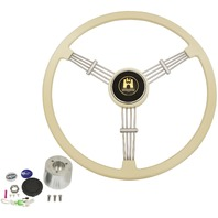 """Banjo"" Style, Ivory Vintage Steering Wheel Kit w/ Boss 3-Bolt 40 Spline Mount Kit, Fits Type 1/Ghia 60-74 1/2, Type 3 61-71"