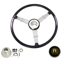 """Banjo"" Style, Black Vintage Steering Wheel Kit w/ Boss 3-Bolt 24 Spline Mount Kit, Fits Type 1 & Ghia 49-59"