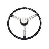 """""""Banjo"""" Style, Black Vintage Steering Wheel Kit w/ Boss 3-Bolt 40 Spline Mount Kit, Fits Type 1/Ghia 60-74 1/2, Type 3 61-71"""