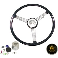 """Banjo"" Style, Black Vintage Steering Wheel Kit w/ Boss 3-Bolt 40 Spline Mount Kit, Fits Type 1/Ghia 60-74 1/2, Type 3 61-71"
