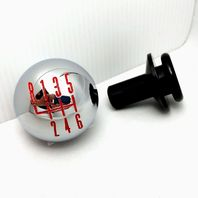 2011-14 Ford Mustang Chrome Billet 6-Speed Shift Knob w/ Retainer - Red Pattern