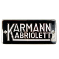 """Karmann Kabriolett"" Split Oval Emblem Badge For Ghia Convertible"