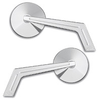Smooth Chrome Round Weekend Warrior Mirror w/ Ball Milled Stem, Pair  - For Metric Cruisers