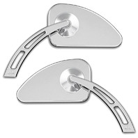 Smooth Chrome Tear Drop Weekend Warrior Mirror w/ Cut-Out Stem, Pair - For Metric Cruisers
